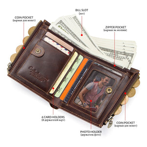Genuine Leather Wallet Men with Chain