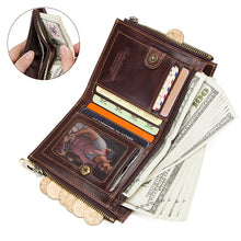 Load image into Gallery viewer, Genuine Leather Wallet Men with Chain