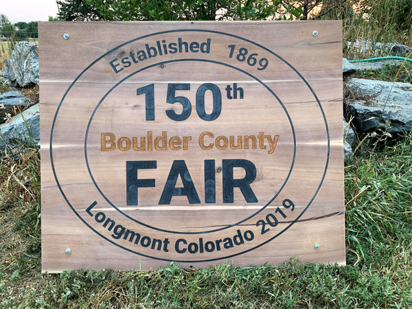 150th Boulder County Fair Anniversary Sign