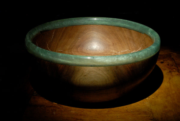Turquoise-Tinted Resin-Rimmed Bowl