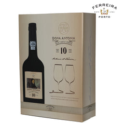 FERREIRA PORT | DONA ANTONIA 10 YEARS OLD TAWNY GIFTBOX + GLAZEN