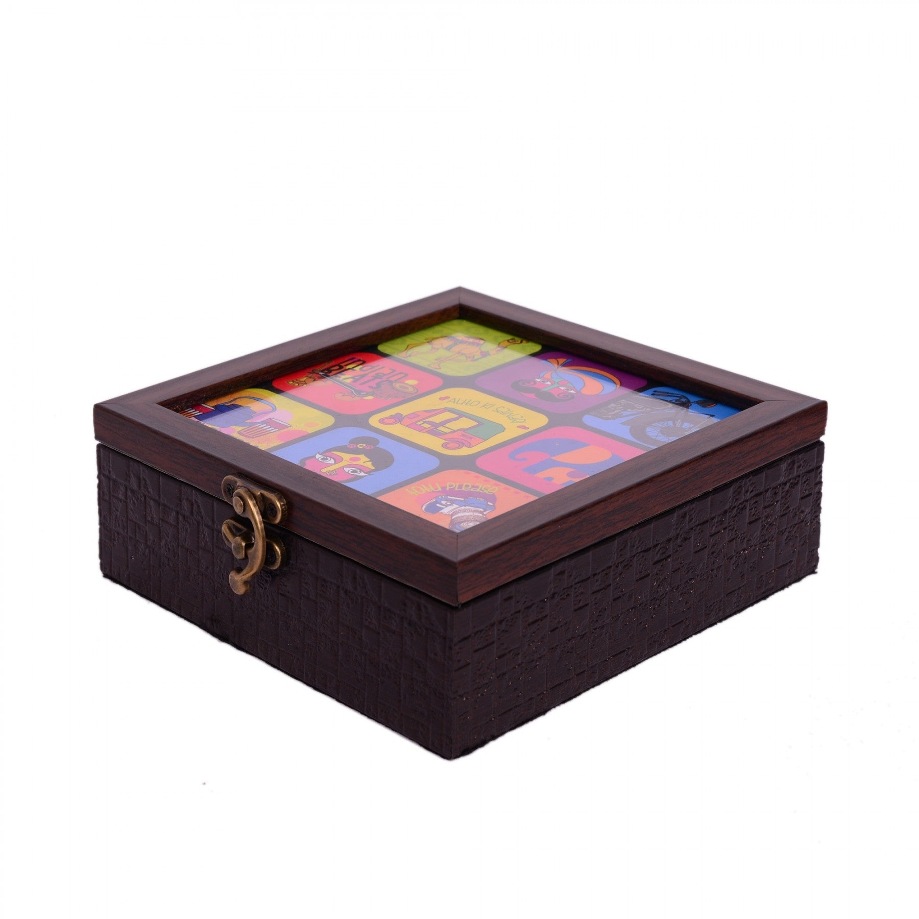 Indian Theme Wood Storage Box