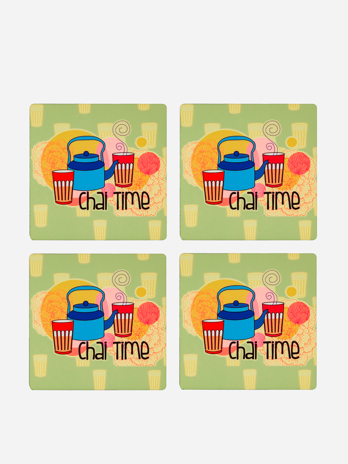 Chai Time Print Coasters (Set of 4)