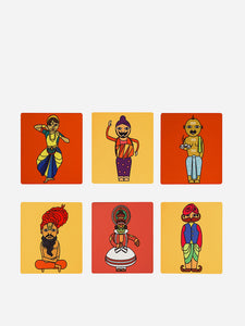 Faces Of India Print Coasters (Set of 6)