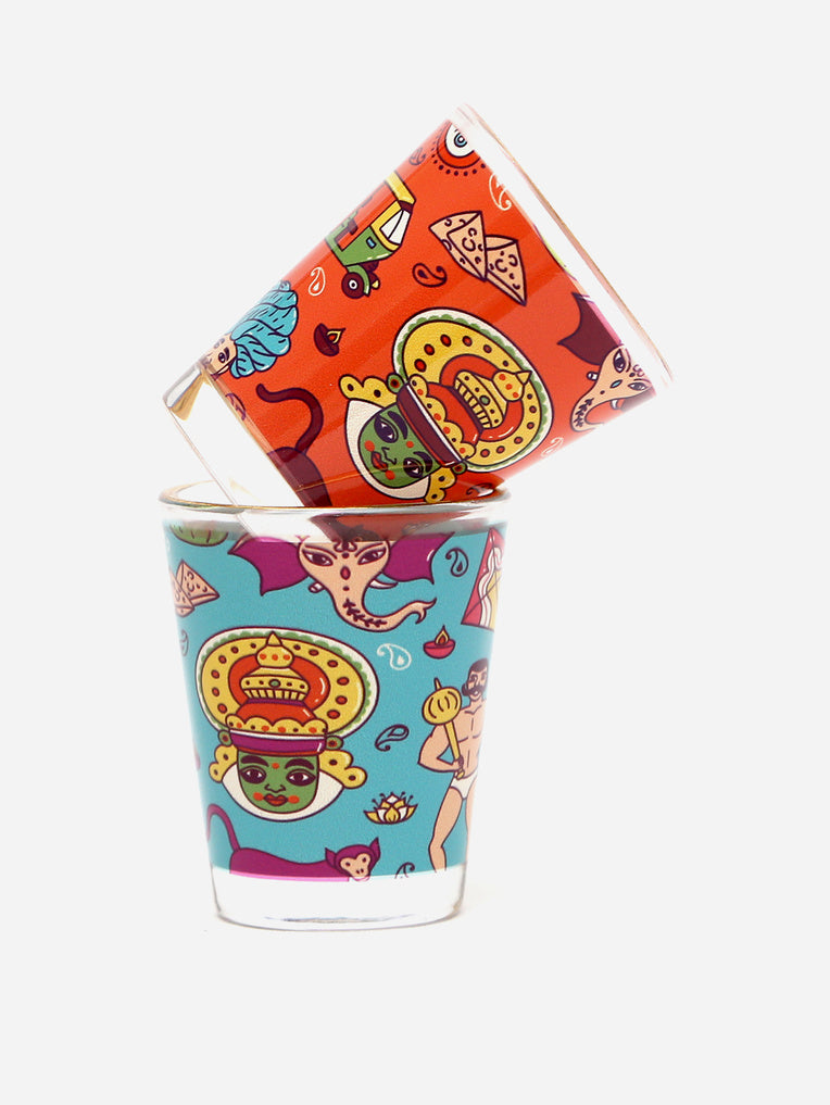Mad India Theme Printed Shot Glasses (Set of 2)