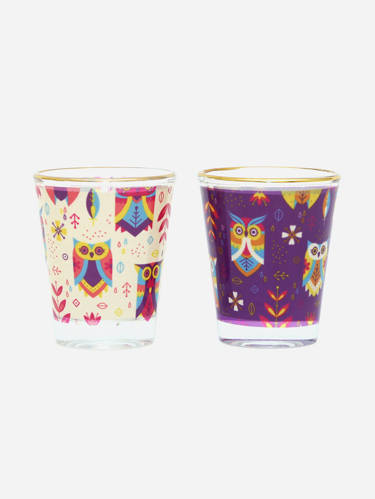 Owl Printed Shot Glasses (Set of 2)