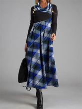 Load image into Gallery viewer, Fashion Plaid Cowl Neck Casual Dress
