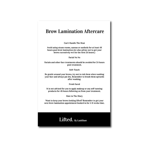 Lifted. Aftercare Advice Leaflets - LashBase Limited