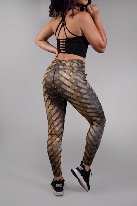 3D Weave Printed Legging Gold/Black
