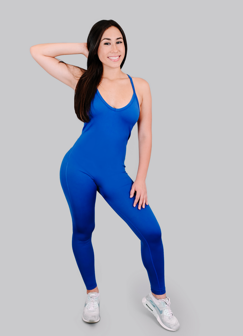 Strappy Open Back Jumpsuit/Blue
