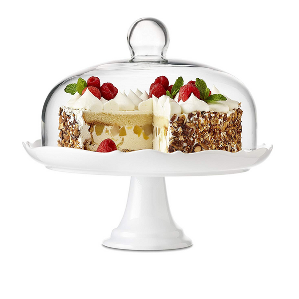 Bianco Cake Stand with Dome