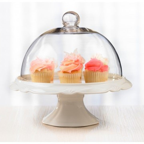 Bianco Cake Stand with Dome - Cookery