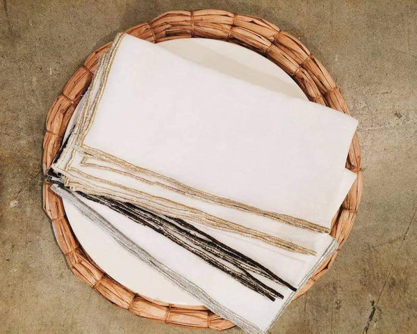 Metallic Trimmed Linen Napkins, Set of 4