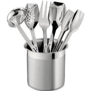 All-Clad Stainless Steel Cook & Serve 6 piece Utensil Set with Holder - Cookery