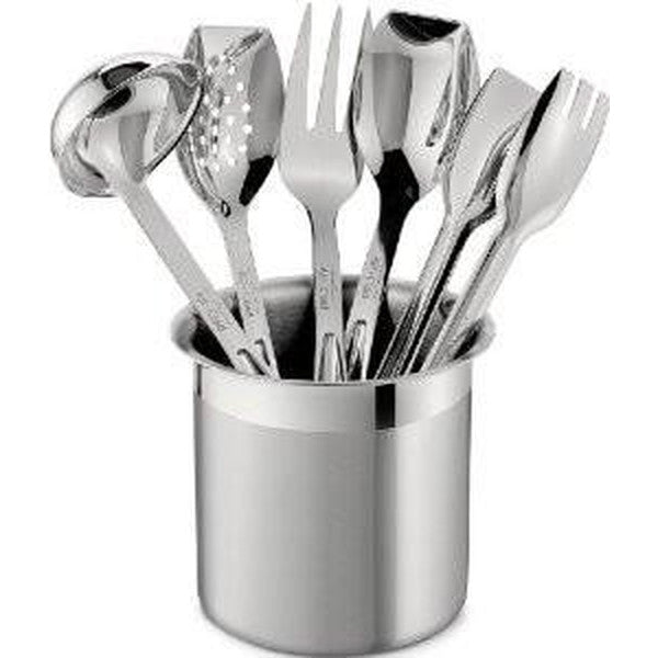All-Clad Stainless Steel Cook & Serve 6 piece Utensil Set with Holder