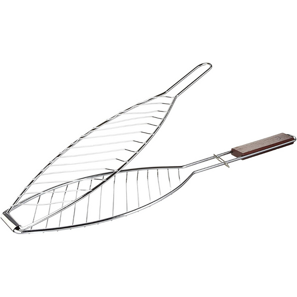 Outset Fish Grill Basket with Rosewood Handle