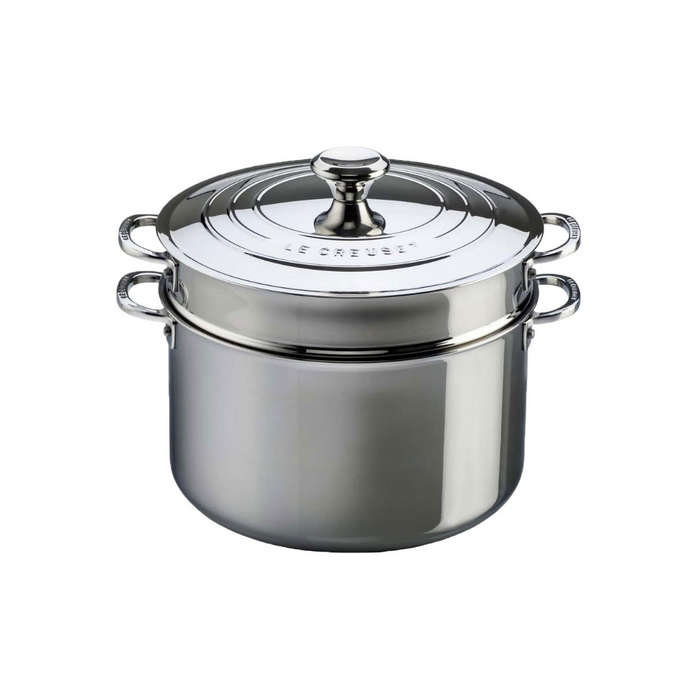 Le Creuset Signature Stainless Steel 8.5L Stockpot with Pasta Insert