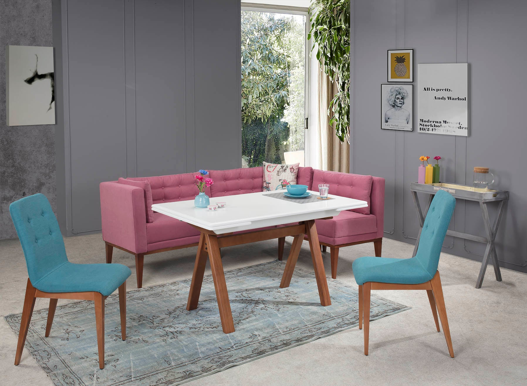 RİO PINK-BLUE Dinner Table