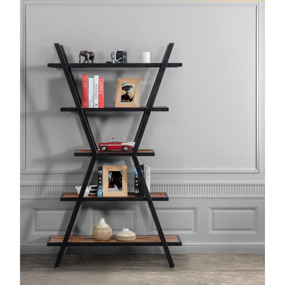 Natural Wood Metal Bookcase with X Shelf