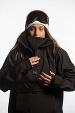 technical snowboarding jacket black
