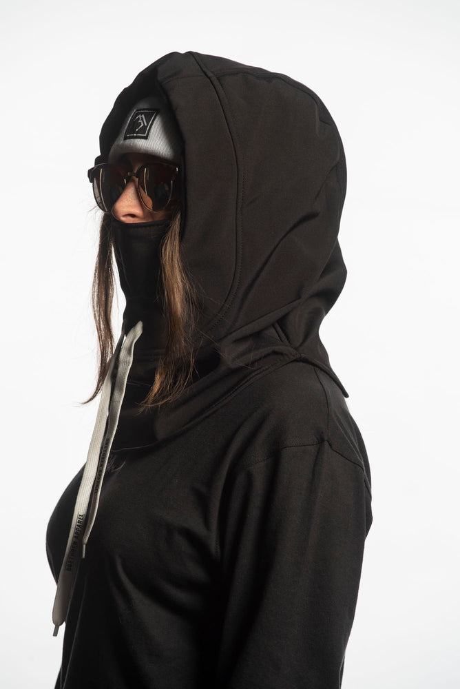black waterproof riding hood