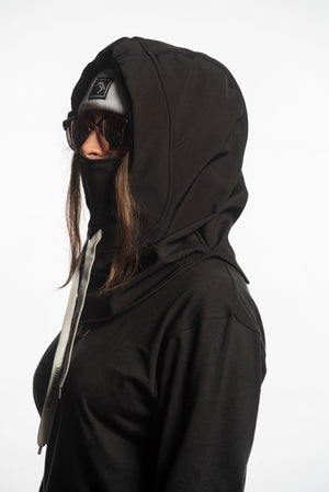 Load image into Gallery viewer, black waterproof riding hood