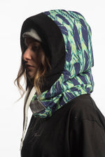 Green snowboarding fleece balaclava