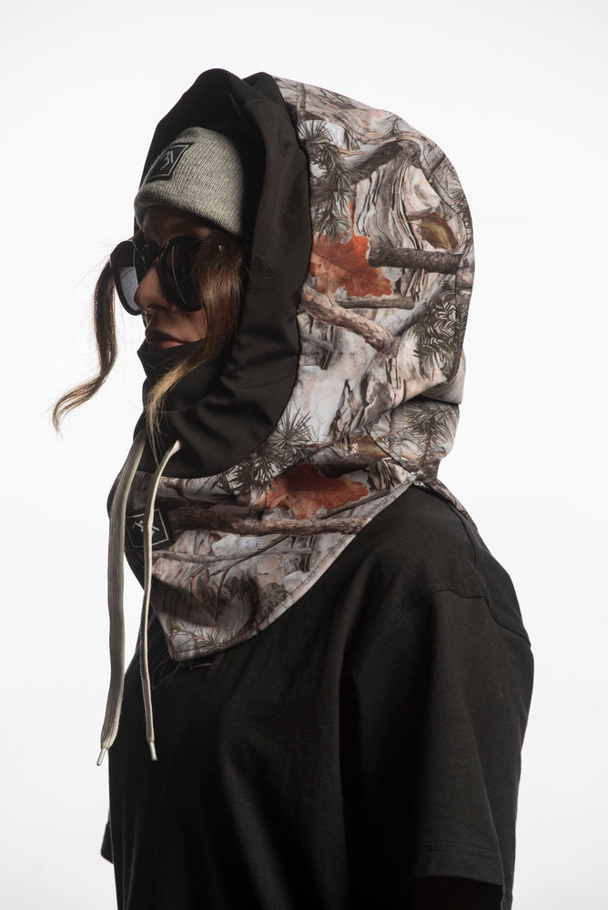 Forest camo technical riding hood