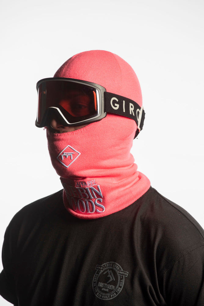 pink knitted snowboarding facemask