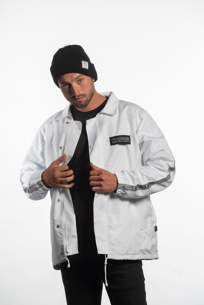 white winter snowboarding coach jacket