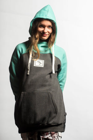 Load image into Gallery viewer, ladies snowboard hoodie mint and charcoal