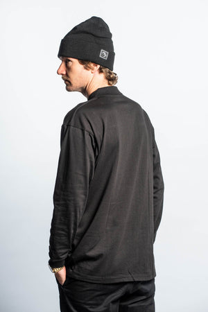 Load image into Gallery viewer, Collared Longsleeve - Black - brethrenapparel