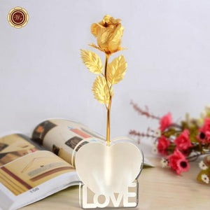 24K Gold Foil Plated Galaxy Rose Flower