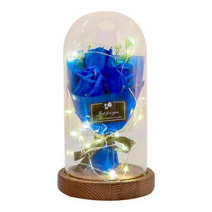 LED Light Soap Rose Flower Bouquet In Glass Dome - Galaxy Rose