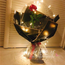 Load image into Gallery viewer, Luminous Silk Rose Transparent Balloon Bouquet