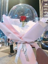 Load image into Gallery viewer, Silk Rose Inside LED Luminous Transparent Ballon Bouquet - Galaxy Rose