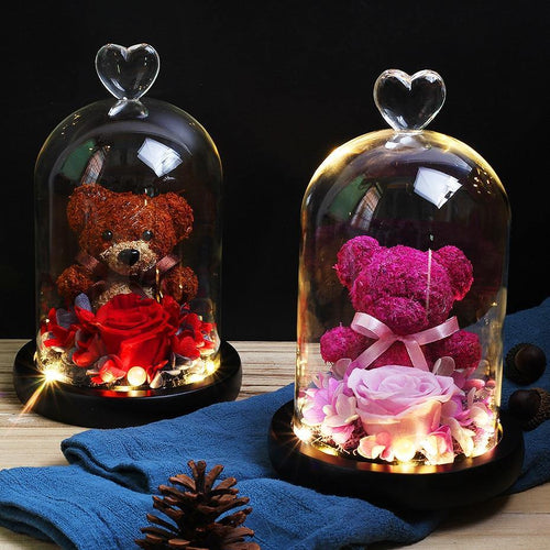 Mini Rose Bear In Glass Dome
