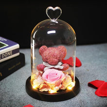Load image into Gallery viewer, Mini Rose Bear In Glass Dome