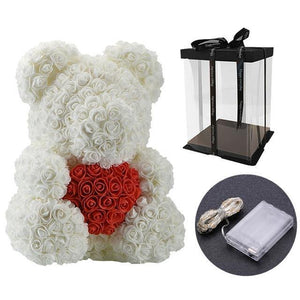 40cm Bear Of Artificial Soap Roses With LED Gift Box - Galaxy Rose