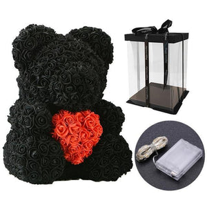 Bear Of Artificial Soap Roses
