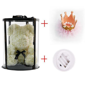 Artificial Rose Teddy Bear In Round Box