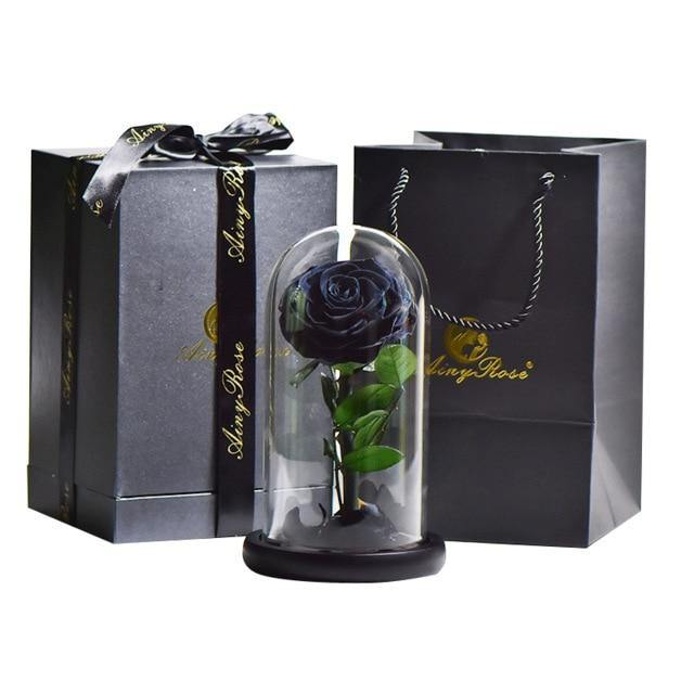 Head Rose In Glass Dome With Box