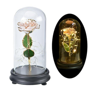 Beauty And The Beast 24K Gold Rose In Glass Dome With LED Light - Galaxy Rose