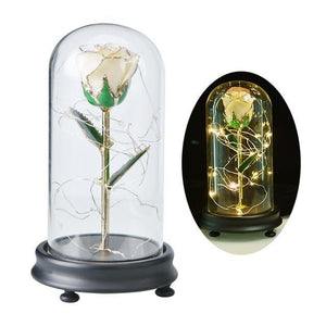 24K Gold Rose in Glass Dome