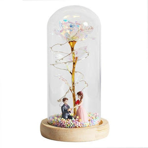 Beauty & The Beast LED Enchanted Galaxy Rose With Little Mannequins - Galaxy Rose