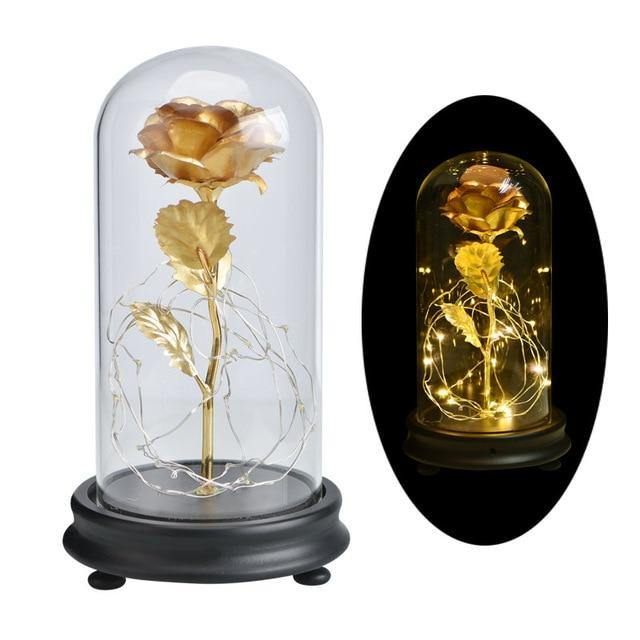 Gold Foil Flowers In Glass Dome