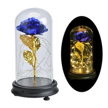 Load image into Gallery viewer, Gold Foil Home Decor LED Flowers In Glass Dome - Galaxy Rose