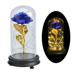 Gold Foil Home Decor LED Flowers In Glass Dome - Galaxy Rose