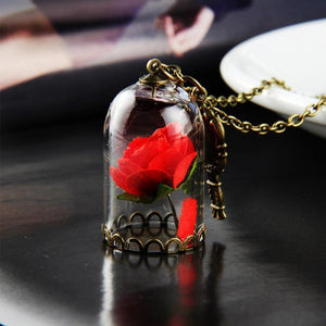 Red Rose in Terrarium Pendant Glass