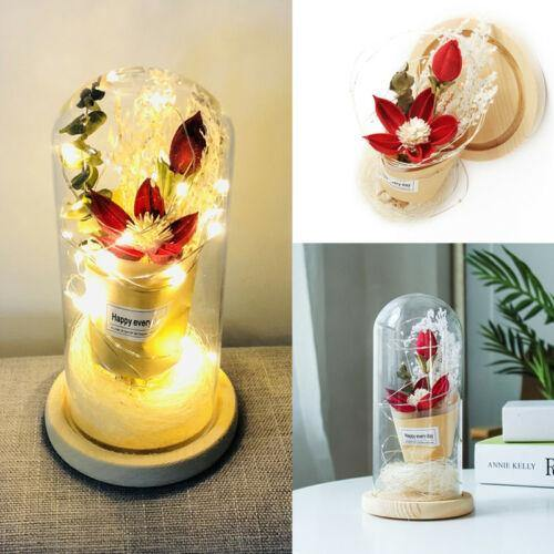 Romantic Lighted Rose In Glass Dome
